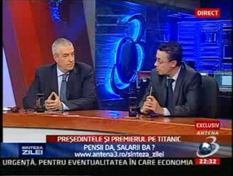 Tăriceanu a refuzat să mai stea cu Ciutacu în emisiune aşa cum vedeţi că s-a întâmplat pe 29 octombrie