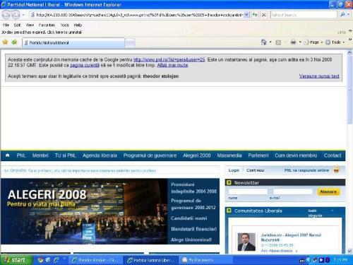 """Dacă apeşi """"in cache"""" de la siteul PNL apărut nitam-nisan în lista de rezultate a căutării """"stolojan"""" te duce la siteul PNL"""